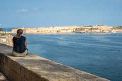 Woman view Valletta royalty free stock image