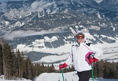 Woman at the view winter mountain Stock Photo