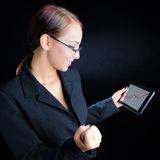 Woman Viewing Ascending Graph stock photography
