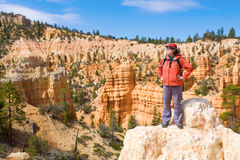 Woman viewing Bryce Canyon. A female hiker overlooking Bryce Canyon, Utah Royalty Free Stock Images