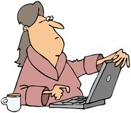 Woman viewing content on computer Stock Images