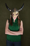 Woman in Viking Helmet Stock Image