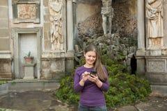 woman in Villa Aldobrandini, Italy stock photo