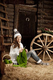 Woman in the village barn with knitting in hand Royalty Free Stock Photos