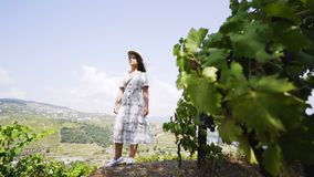 Woman between vine plants on hill pointing to side. Side view of lady holding hat and showing by finger to side between vine plants on valley of Douro river in stock video