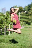 Woman in a vineyard Stock Photography