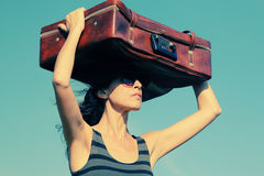 Woman with vintage bag royalty free stock images