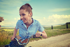 Woman with vintage bike outdoor, summer time Stock Image