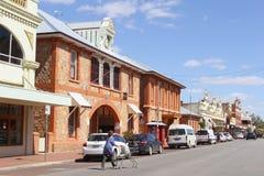 Woman vintage buildings, York, Western Australia Stock Images