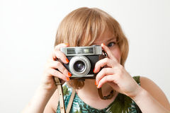 Woman with a vintage camera Royalty Free Stock Photos