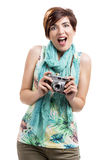 Woman with a vintage camera Royalty Free Stock Photo