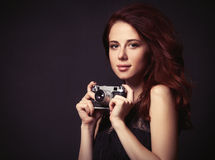 Woman with vintage camera Royalty Free Stock Photo