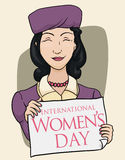 Woman with Vintage Clothing Holding a Sign for Women's Day, Vector Illustration Royalty Free Stock Photography