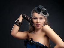 Woman in vintage dance clothes Stock Image