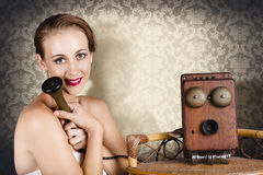 Woman in vintage daydream with operator phone Royalty Free Stock Photos