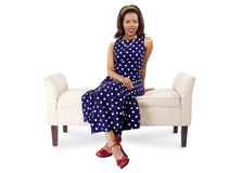 Woman in Vintage Dress and Furniture Stock Photography
