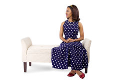 Woman in Vintage Dress and Furniture Stock Photos
