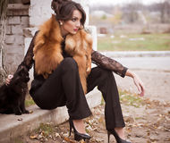 Woman in vintage fashion clothes Stock Photos