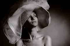 Woman in vintage hat Royalty Free Stock Images