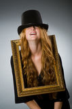 Woman with vintage hat Stock Photos