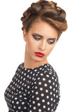 Woman with vintage make-up and hairstyle Royalty Free Stock Images