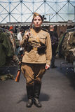 Woman in vintage Russian uniform at Militalia in Milan, Italy Stock Images