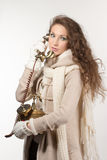 Woman with vintage telephone Royalty Free Stock Image