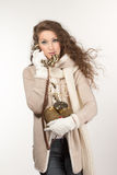 Woman with vintage telephone Royalty Free Stock Photo