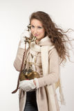 Woman with vintage telephone Royalty Free Stock Images