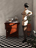 Woman and vintage washstand Stock Photography