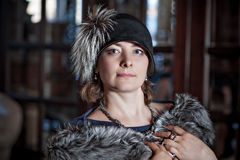 Woman in vintage winter clothes Royalty Free Stock Photo