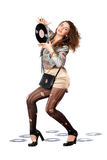 Woman with vinyl disc in a hands Royalty Free Stock Photos