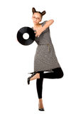 Woman with vinyl plate Stock Photo