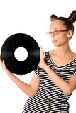 Woman with vinyl plate Stock Photography