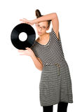 Woman with vinyl plate Royalty Free Stock Image