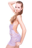 Woman in a violet dress Royalty Free Stock Photography