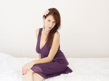 Woman with violet dress Royalty Free Stock Photo