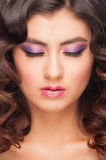 Woman with violet make-up Royalty Free Stock Image