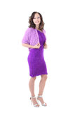 Woman in violet warm dress Royalty Free Stock Photography