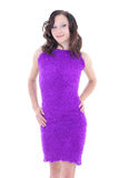 Woman in violet warm dress Royalty Free Stock Photos