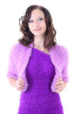 Woman in violet warm dress Royalty Free Stock Images