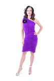 Woman in violet warm dress Stock Photography