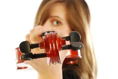 Woman with violin 007 Royalty Free Stock Photo