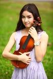 Woman and violin Stock Photo