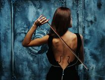 Woman with violin body royalty free stock photos