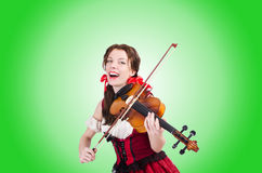 Woman with violin isolated on white Royalty Free Stock Images