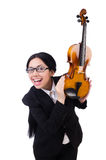 Woman with violin isolated on the white Stock Image