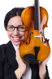 Woman with violin isolated on the white Royalty Free Stock Photo