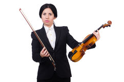 Woman with violin isolated on the white Royalty Free Stock Photography
