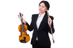 Woman with violin isolated on the white Royalty Free Stock Images